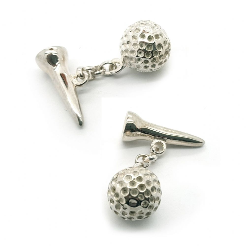 Golfers Sterling Silver Golf Ball & Tee Cufflinks Fine Quality British Made Gift